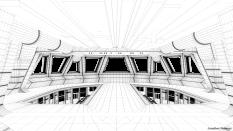 Wireframe model of Star Destroyer bridge from Star Wars